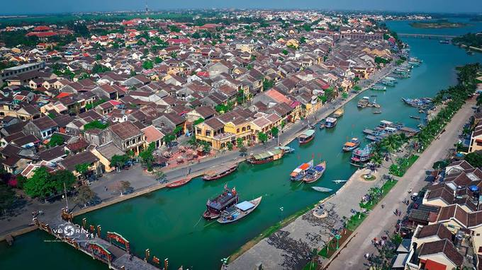 The ancient town of Hoi An is captured from above. Photo by VnExpress/Vo Rin